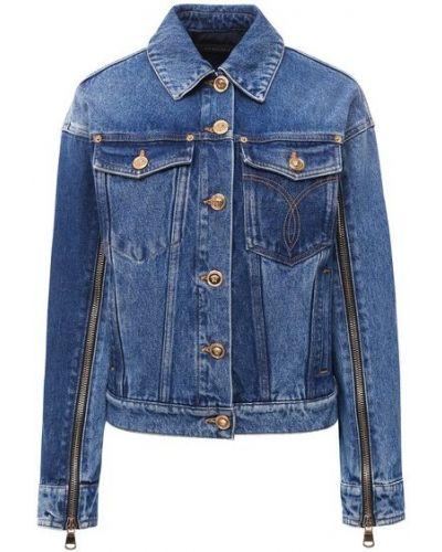 Хлопковая синяя джинсовая куртка с подкладкой Versace