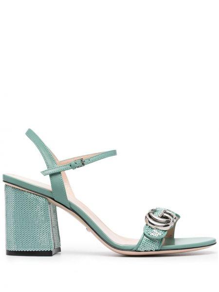 Niebieskie sandały skorzane klamry Gucci