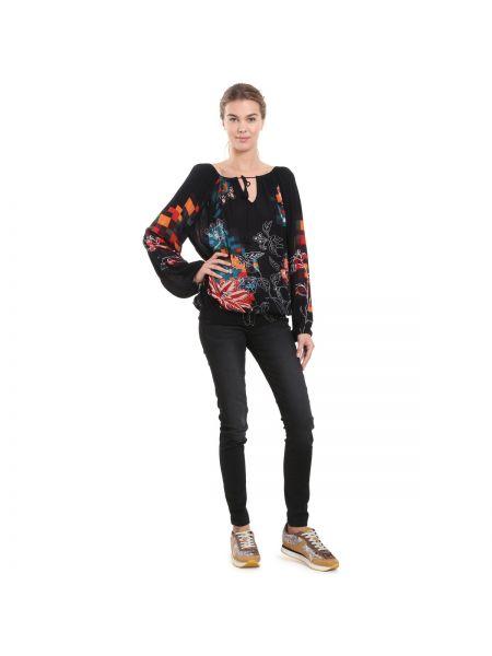 Блузка с длинным рукавом с цветочным принтом с вырезом Desigual