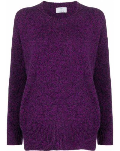 Кашемировый фиолетовый вязаный джемпер свободного кроя в рубчик Allude