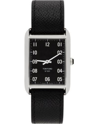 Czarny zegarek na skórzanym pasku srebrny z klamrą Tom Ford