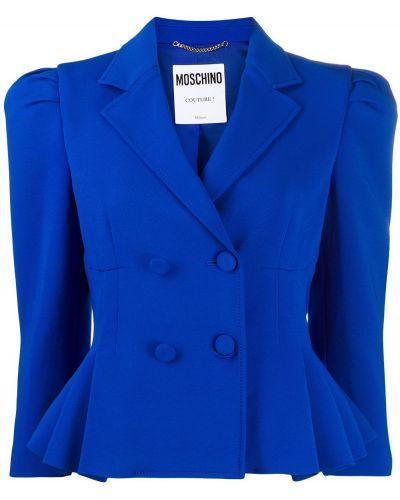 Синий пиджак двубортный на пуговицах Moschino