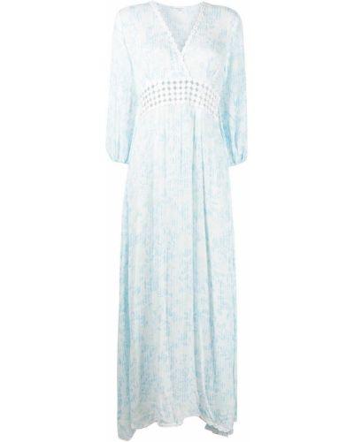 Платье макси с длинными рукавами - синее Poupette St Barth