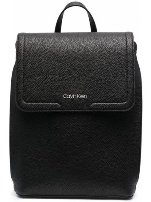 Кожаная черная сумка с карманами Calvin Klein