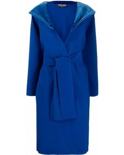 Прямое синее длинное пальто с поясом Le Petite Robe Di Chiara Boni