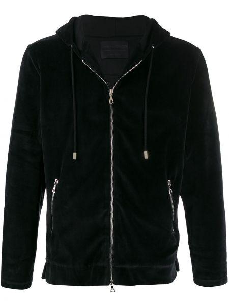 Czarna bluza długa z kapturem z długimi rękawami Limitato