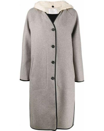 С рукавами шерстяное пальто с капюшоном на пуговицах с капюшоном Tela