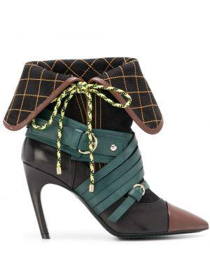 Czarne ankle boots skorzane klamry Carven