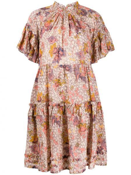 Sukienka mini krótki rękaw z wiskozy w kwiaty Ulla Johnson
