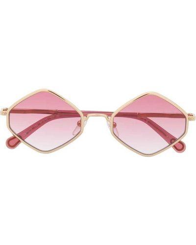 Золотистые розовые солнцезащитные очки металлические Chloé Kids