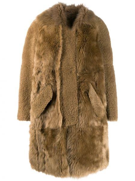 Длинное пальто из овчины оверсайз с воротником Yves Salomon