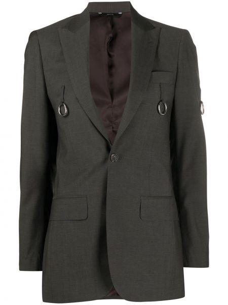 Шерстяной серый пиджак с карманами R13