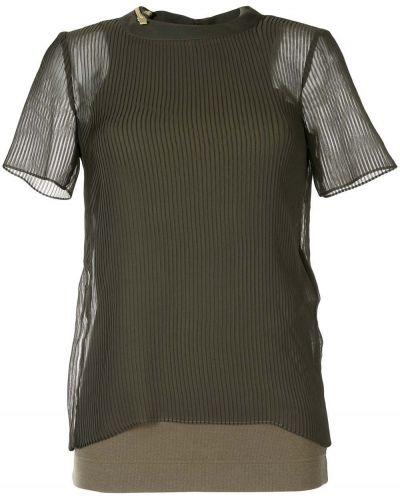 Прямая зеленая с рукавами футболка Sacai