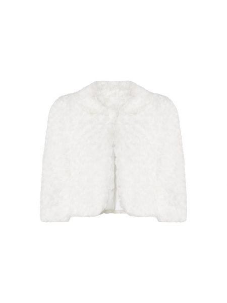 Biały z rękawami bolerko z kołnierzem Troyden Collection