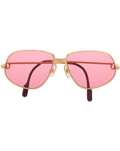 Złote różowe okulary pozłacane Cartier