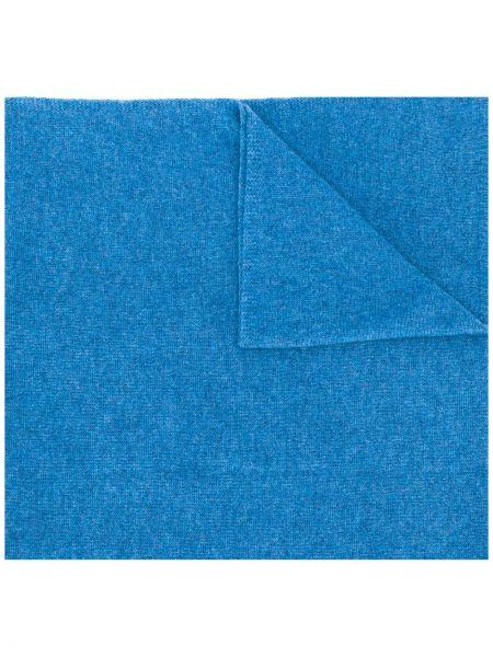Вязаный кашемировый синий шарф вязаный в рубчик Liska