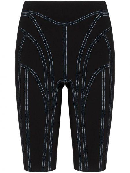 Облегающие черные шорты эластичные Mugler