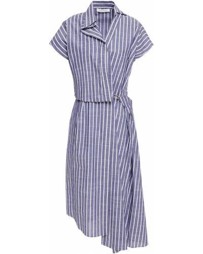 Niebieska sukienka midi asymetryczna w paski Cedric Charlier