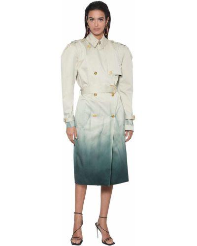 Beżowy płaszcz z paskiem bawełniany Versace