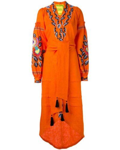 Платье с поясом с вышивкой льняное Yuliya Magdych