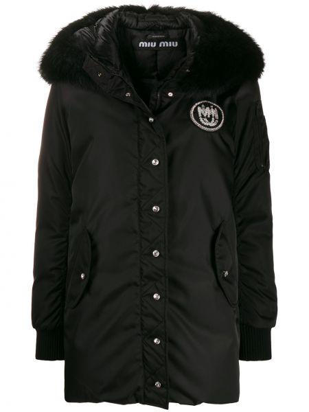 Пальто с капюшоном на кнопках айвори в рубчик из искусственного меха Miu Miu