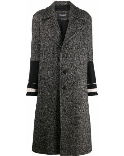 Черное длинное пальто из альпаки на пуговицах Neil Barrett