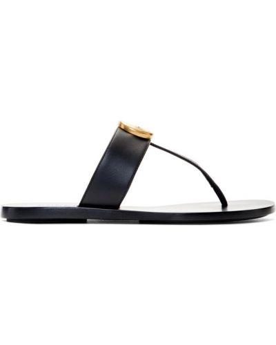 Otwarty skórzany czarny sandały okrągły Gucci