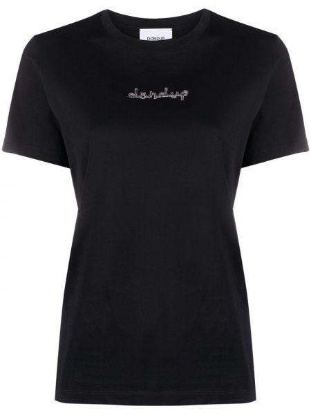 Хлопковая черная футболка с вышивкой Dondup