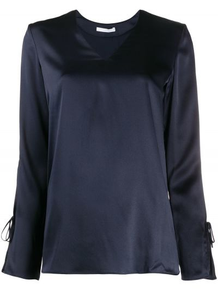 Шелковая приталенная блузка с длинным рукавом с вырезом круглая Boss Hugo Boss