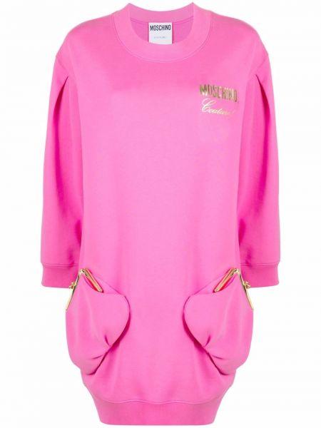 Розовое хлопковое платье макси Moschino