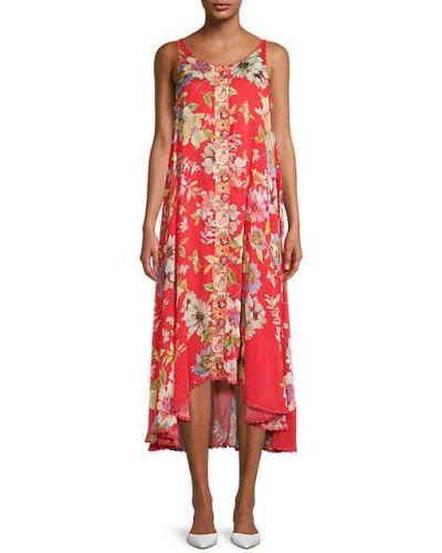 Pomarańczowa sukienka koronkowa w kwiaty Johnny Was