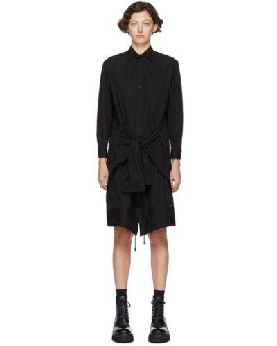 Хлопковое черное платье макси с длинными рукавами с воротником Regulation Yohji Yamamoto