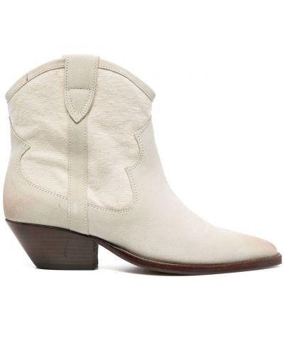 Бежевые кожаные слипы на каблуке Isabel Marant