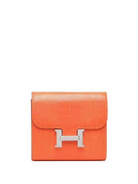 Pomarańczowy portfel skórzany klamry Hermes