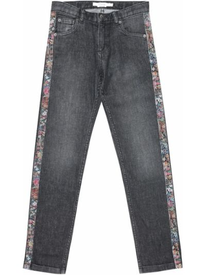 Ватные хлопковые черные джинсы с заплатками Bonpoint