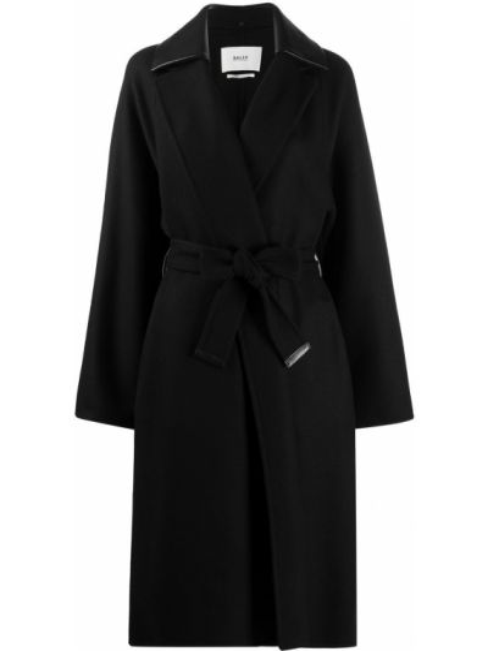 Черное кашемировое длинное пальто с запахом Bally