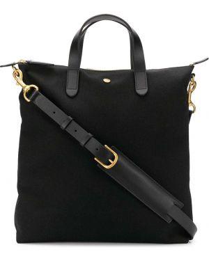 Черная сумка шоппер круглая с камнями Mismo