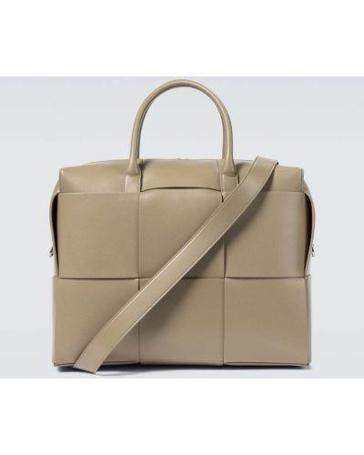 Серебряный городской кожаный портфель Bottega Veneta