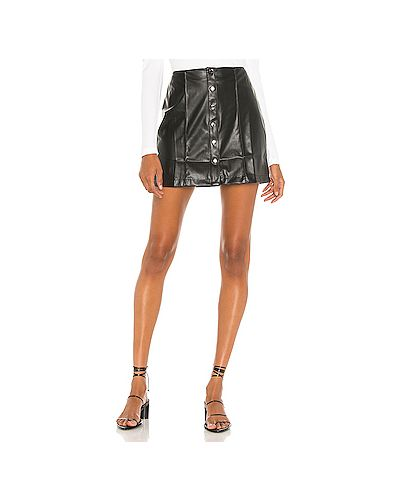 Черная кожаная юбка мини David Lerner