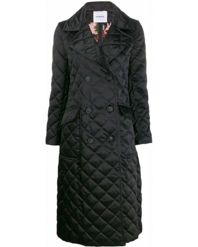 Черное длинное пальто с воротником с лацканами Ainea