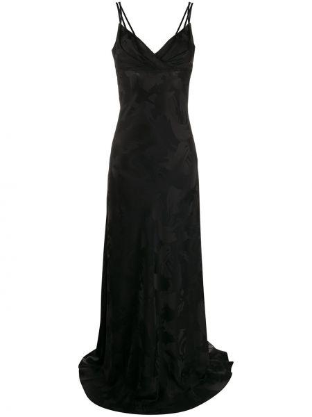 Черное тонкое платье с открытой спиной на бретелях Talbot Runhof