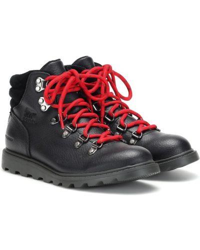 Czarne ankle boots skorzane Sorel Kids