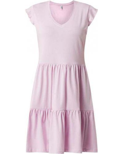 Fioletowa sukienka rozkloszowana bawełniana Only