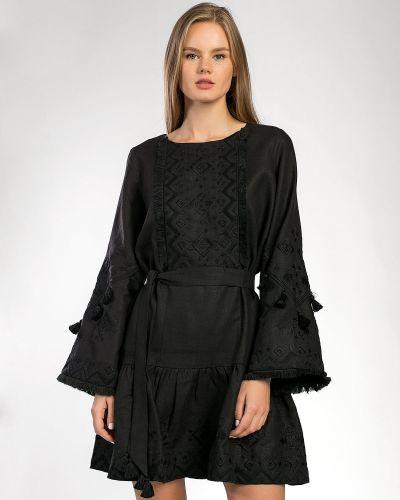 Этническое черное платье оверсайз Etnodim