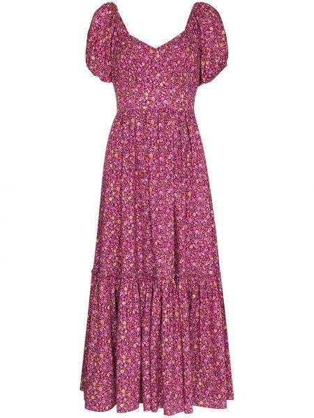 Фиолетовое с рукавами платье миди с оборками Loveshackfancy