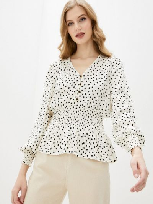 Бежевая блузка с длинными рукавами Mbym