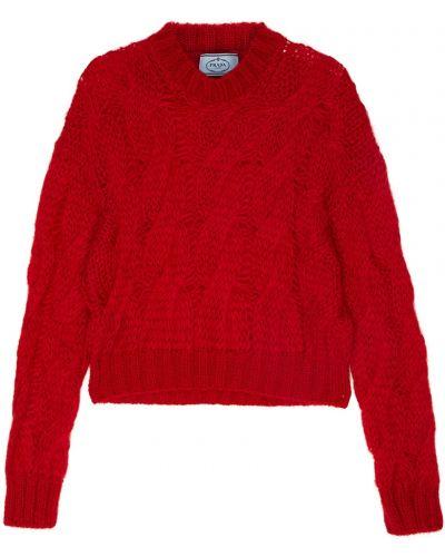 Красный свитер с косами Prada