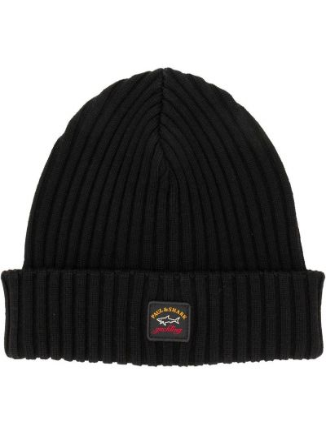 Шерстяная черная шапка бини Paul & Shark