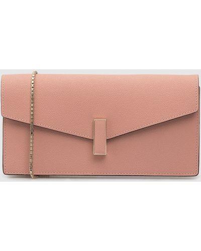 Кожаный розовый клатч Valextra