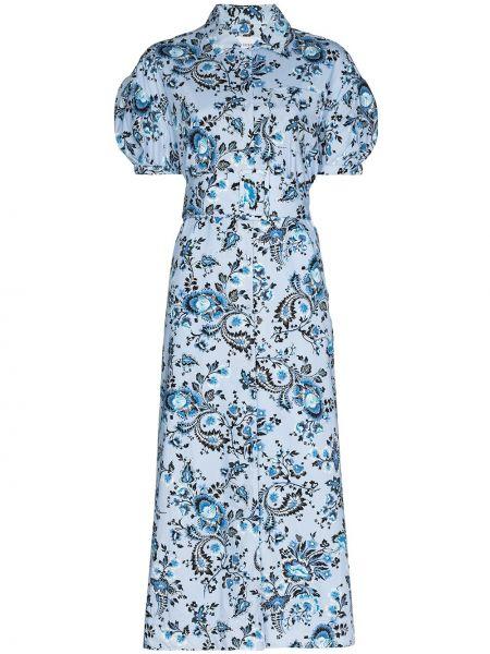 Хлопковое синее платье миди Erdem